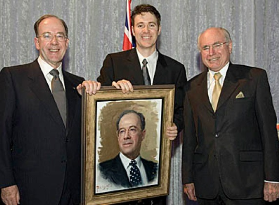 (Left to right) Retiring ABC Chairman Donald McDonald, Paul Newton and Australian Prime Minister John Howard unveiling portrait sketch at the Chairman's Farewell dinner.jpg